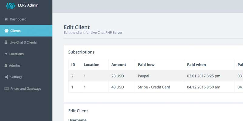 client all subscriptions