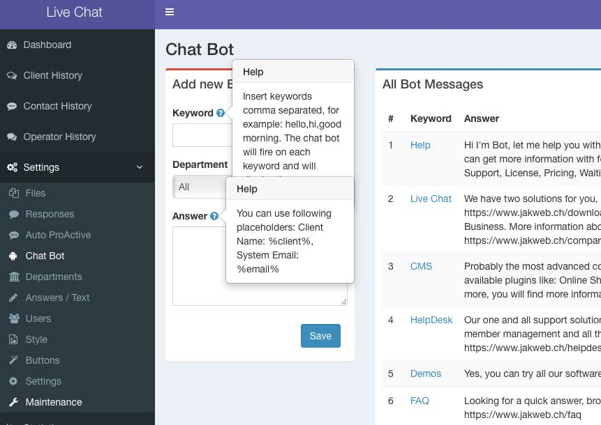 FAQ - Chat Bot - JAKWEB Live Support Chat, HelpDesk and Cloud Chat