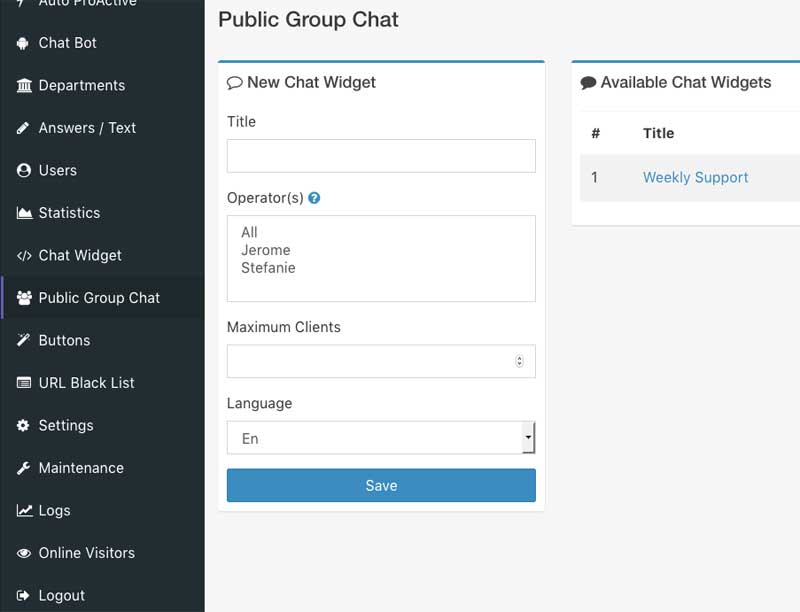 public chat group operator