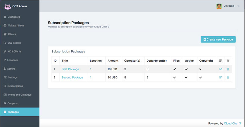subscription package cloud chat 3
