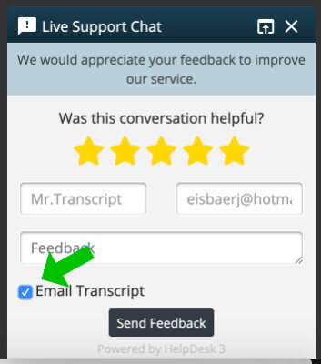 feedback form request chat transcript