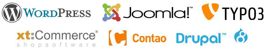 joomla wordpress typo3 drupal xtcommerce woocommerce